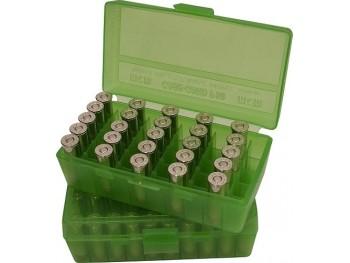 MTM P50-9 Boite à Munitions 9mm, 380ACP Vert Transparent