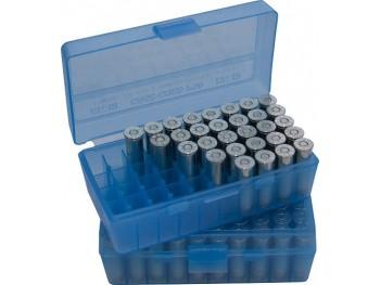 MTM P50-45 Boite à Munitions 10mm, 40S&W, 45ACP Bleu Transparent
