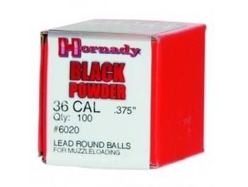 Balles Rondes cal 36 .375 Hornady boite de 100