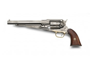 pietta 1858 Remington Texas Laiton Nickelé gravé laser Cal.44