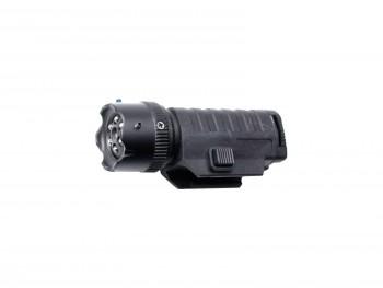 Lampe à leds + laser point rouge sur cible